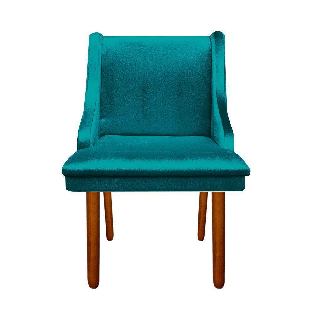 Cadeira Sala de Jantar Liz Acetinado Azul - D'Rossi