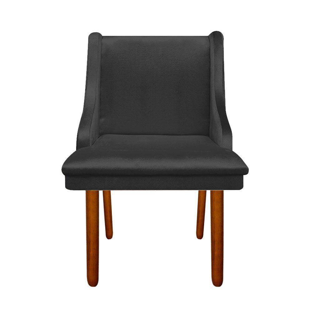 Cadeira de Jantar Liz Acetinado Preto Pés Palito Castanho D'Rossi
