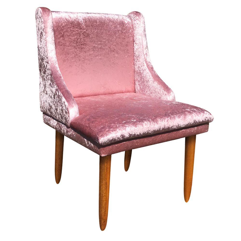 Cadeira de Jantar Liz Acetinado Rose Pés Palito Castanho D'Rossi