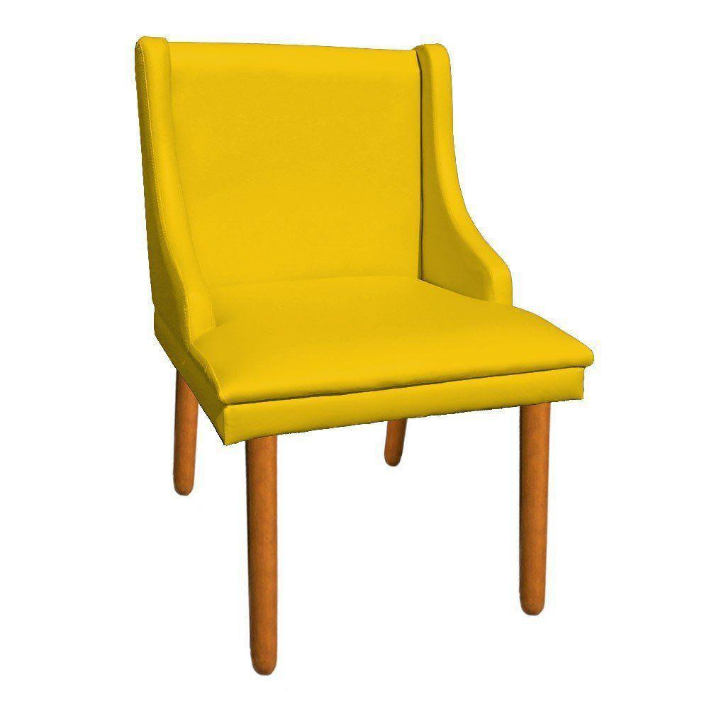 Cadeira de Jantar Liz Corino Amarelo Pés Palito Castanho D'Rossi