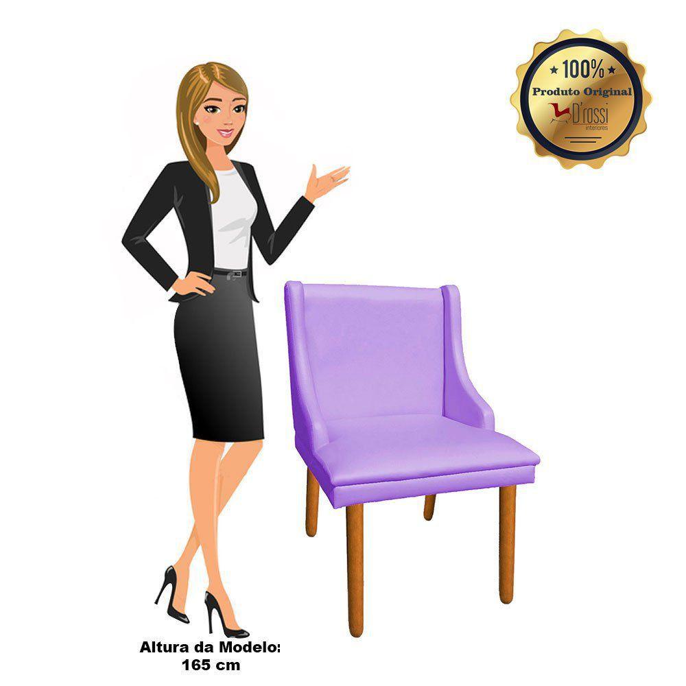 Cadeira de Jantar Liz Corino Lilás Pés Palito Castanho D'Rossi