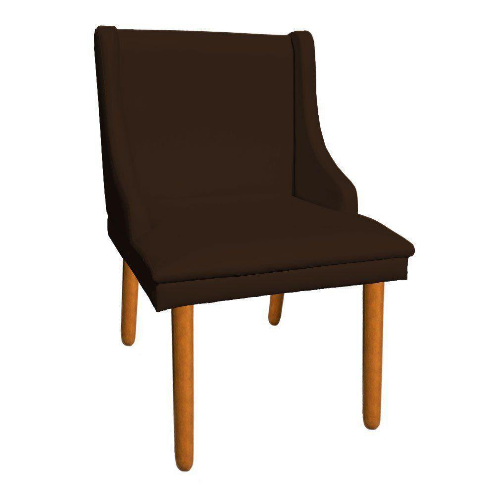 Cadeira de Jantar Liz Corino Marrom Pés Palito Castanho D'Rossi