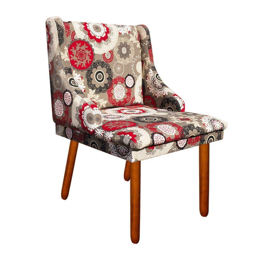 Cadeira de Jantar Liz Estampado Floral D32 Pés Castanho Pés Palito Castanho D'Rossi