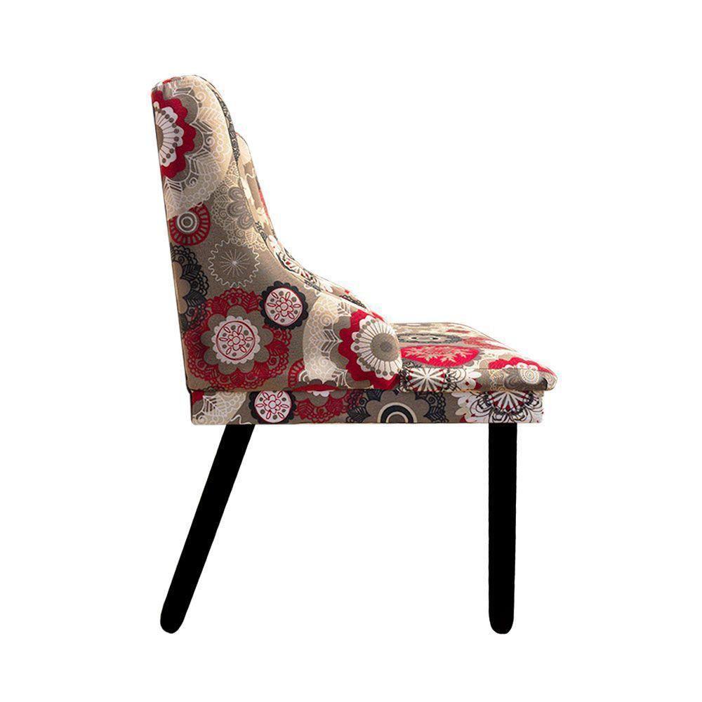 Cadeira de Jantar Liz Estampado Floral D32 Pés Tabaco Pés Palito Castanho D'Rossi