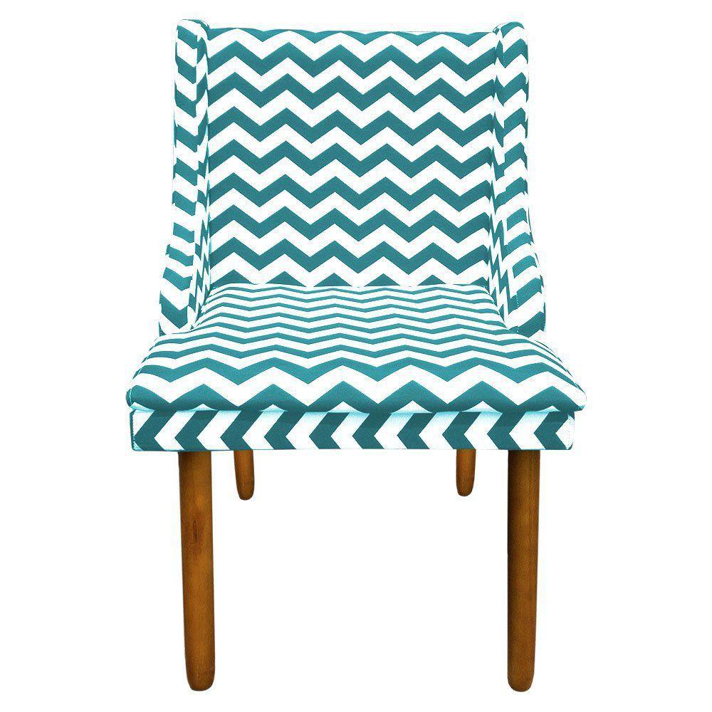 Cadeira de Jantar Liz Estampado Zig Zag Verde Turquesa D78 Pés Castanho Pés Palito Castanho D'Rossi