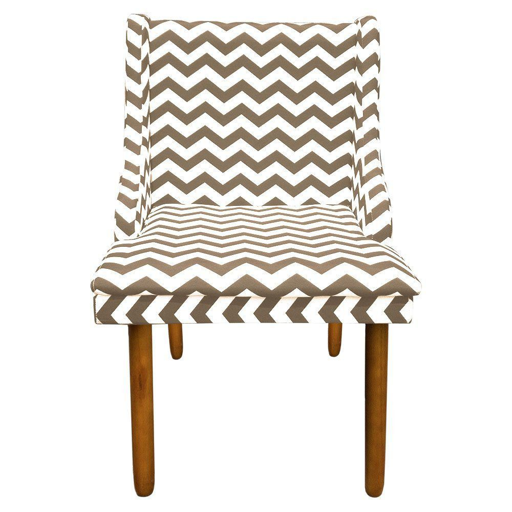 Cadeira de Jantar Liz Estampado Zig Zag Bege D81 Pés Castanho Pés Palito Castanho D'Rossi