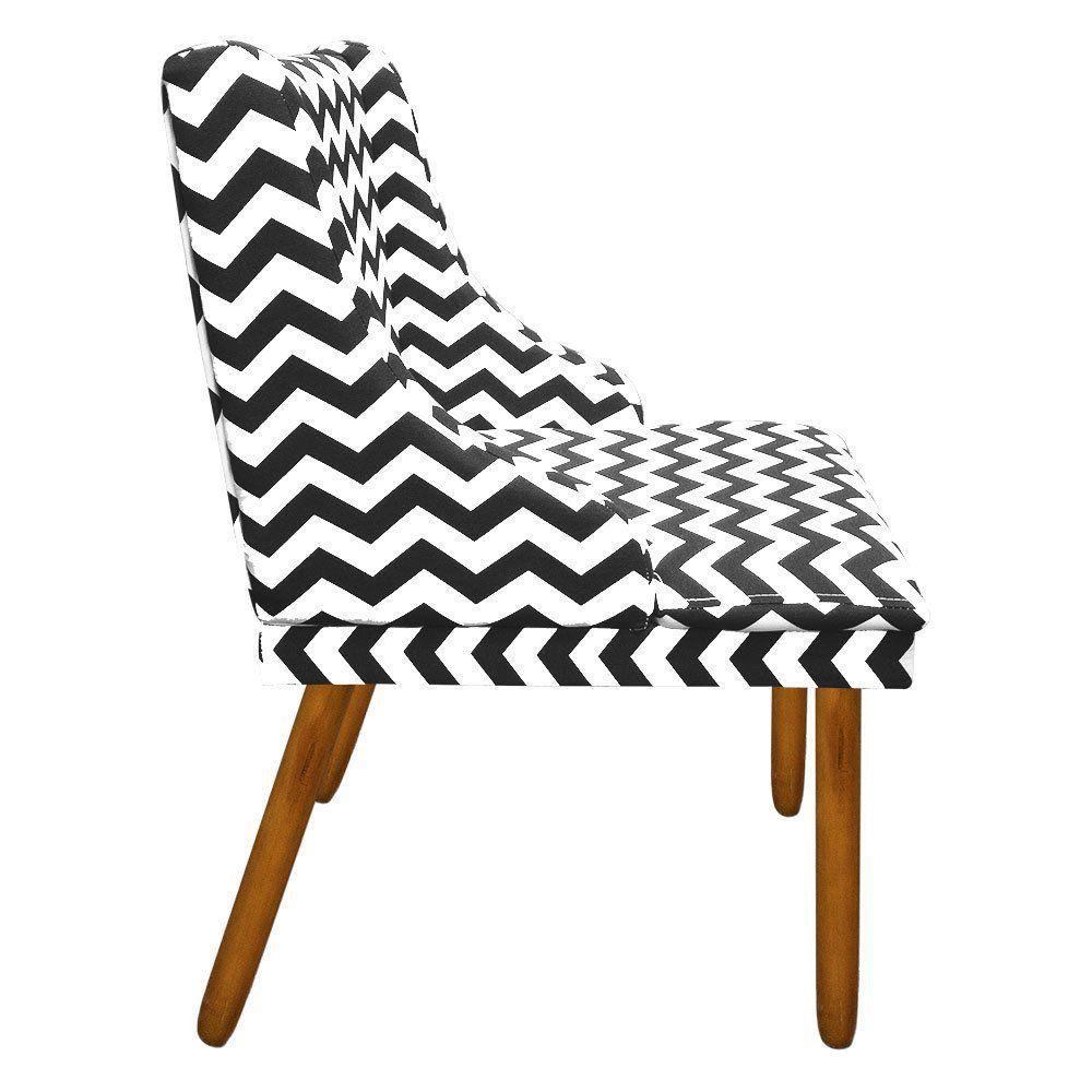 Cadeira de Jantar Liz Estampado Zig Zag Preto D80 Pés Palito Castanho D'Rossi