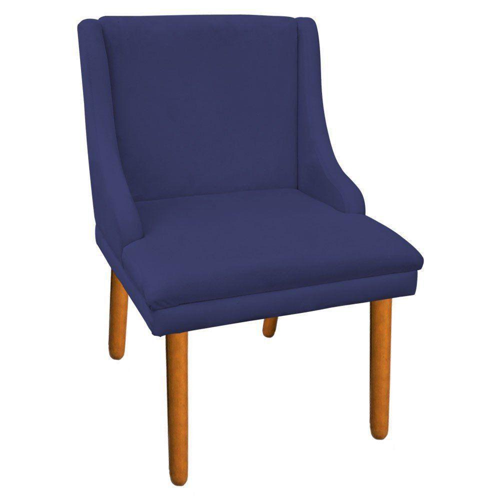 Cadeira de Jantar Liz Suede Azul Marinho Pés Palito Castanho D'Rossi