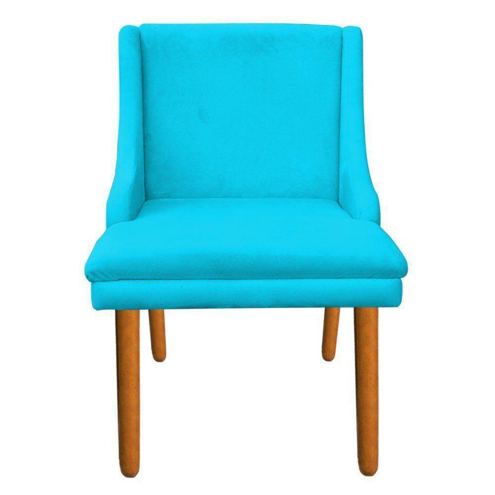 Cadeira de Jantar Liz Suede Azul Turquesa Pés Palito Castanho D'Rossi