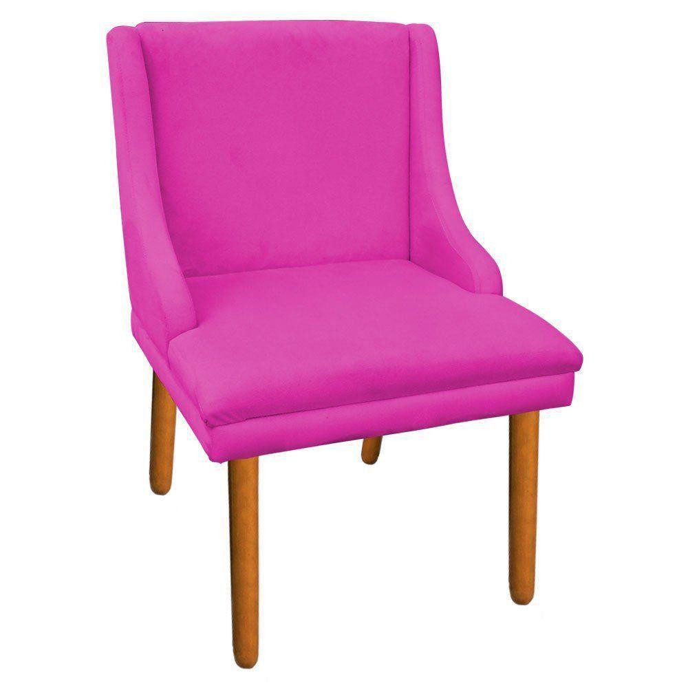 Cadeira de Jantar Liz Suede Pink Pés Palito Castanho D'Rossi