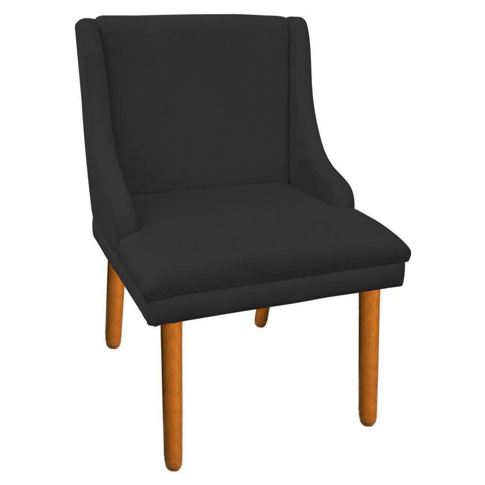 Cadeira de Jantar Liz Suede Preto Pés Palito Castanho D'Rossi