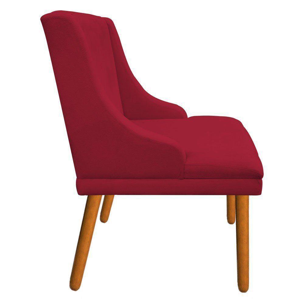 Cadeira de Jantar Liz Suede Vermelho Pés Palito Castanho D'Rossi