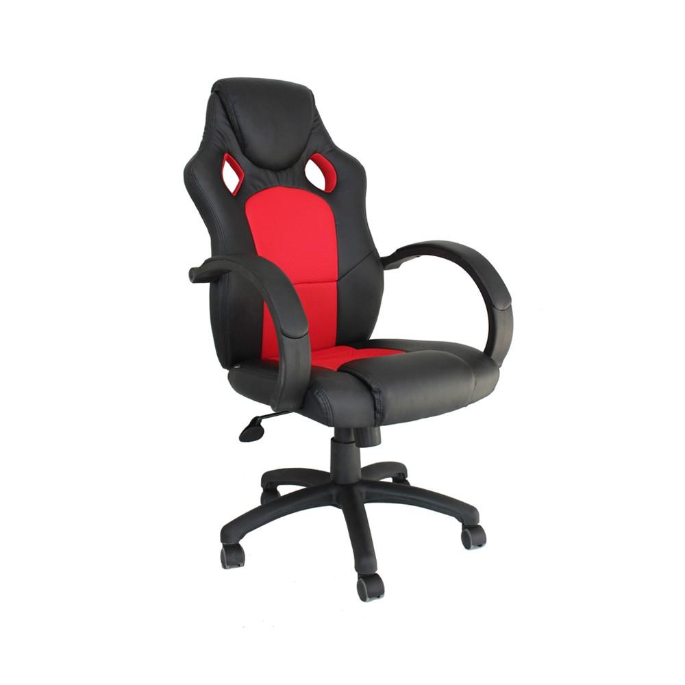 Cadeira Office Racer Gamer Preto e Vermelho D'Rossi