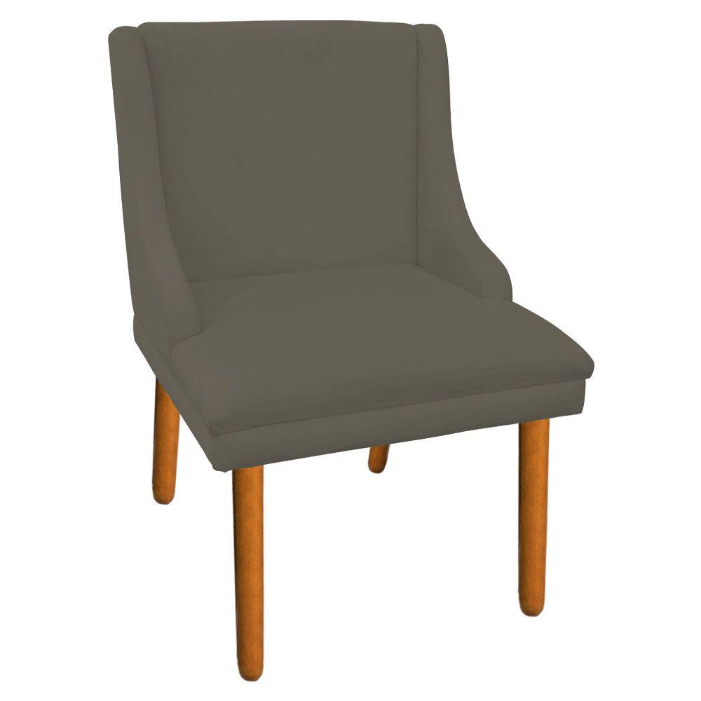 Cadeira de Jantar Liz Suede Marrom Rato Pés Palito D'Rossi