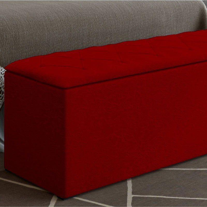 Calçadeira com Baú Paris 140 cm Suede Vermelho D'Rossi