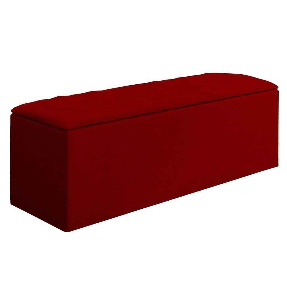 Calçadeira com Baú Paris 160 cm Suede Vermelho D'Rossi