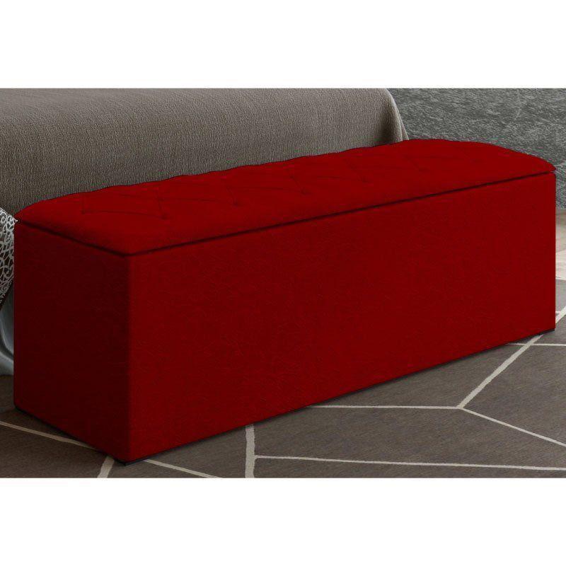 Calçadeira com Baú Paris 195 cm Suede Vermelho D'Rossi
