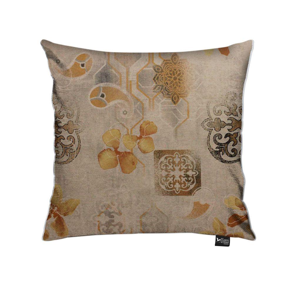 Capa para Almofada Tecido Estampado Floral Rústico Amarelo D107 - D'Rossi