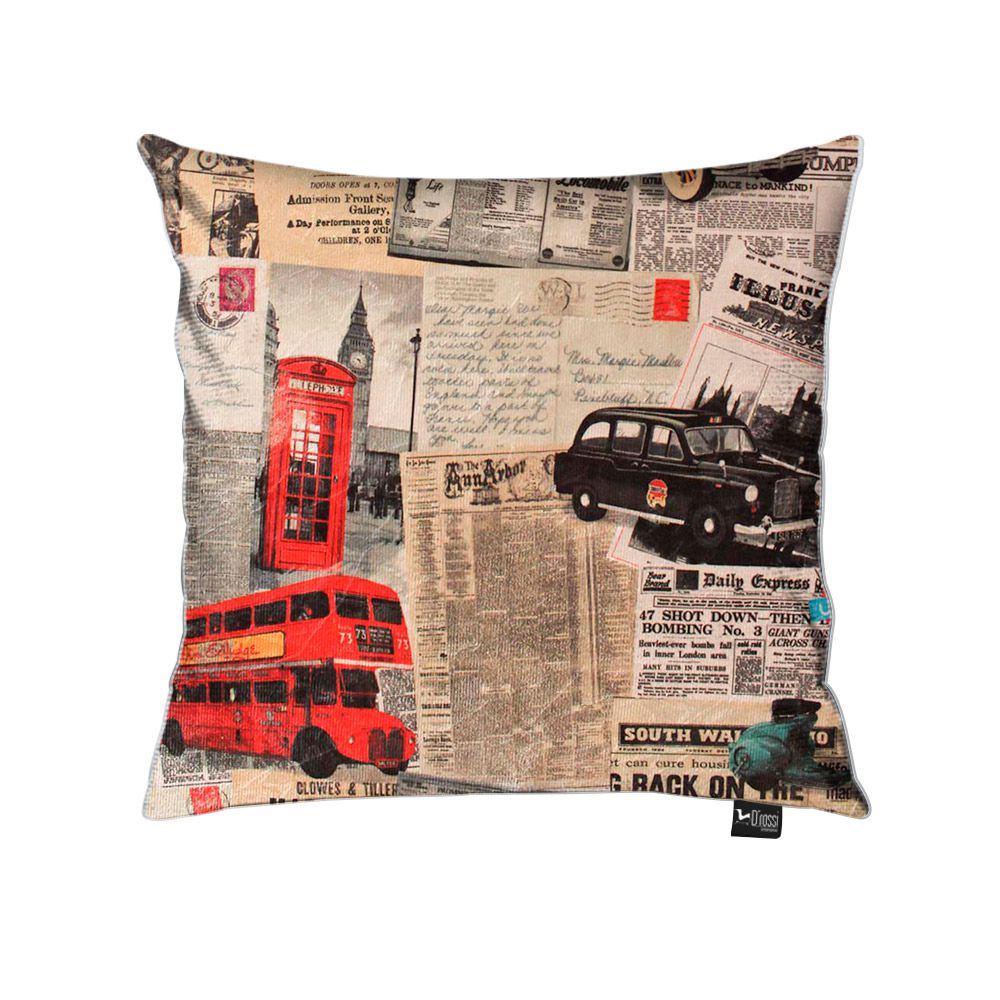 Capa para Almofada Tecido Estampado Londres D26 - D'Rossi