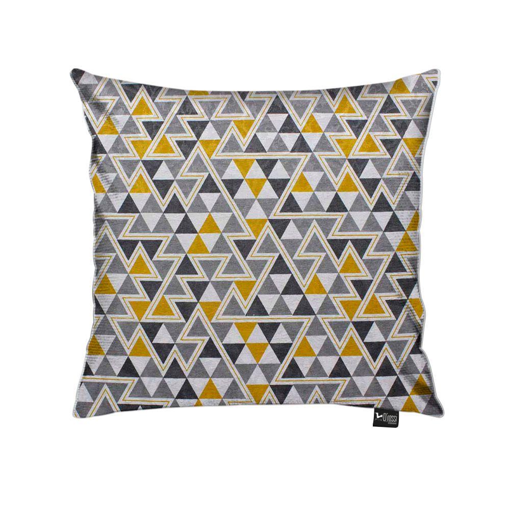 Capa para Almofada Tecido Estampado Triângulo Amarelo e Cinza D97 - D'Rossi