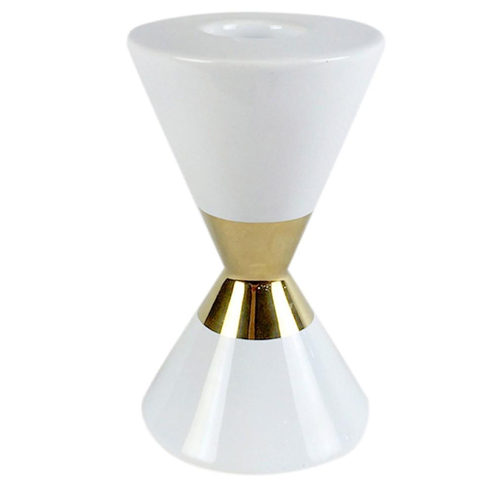 Castiçal Decorativo Cerâmica Branco e Dourado 18 cm D'Rossi