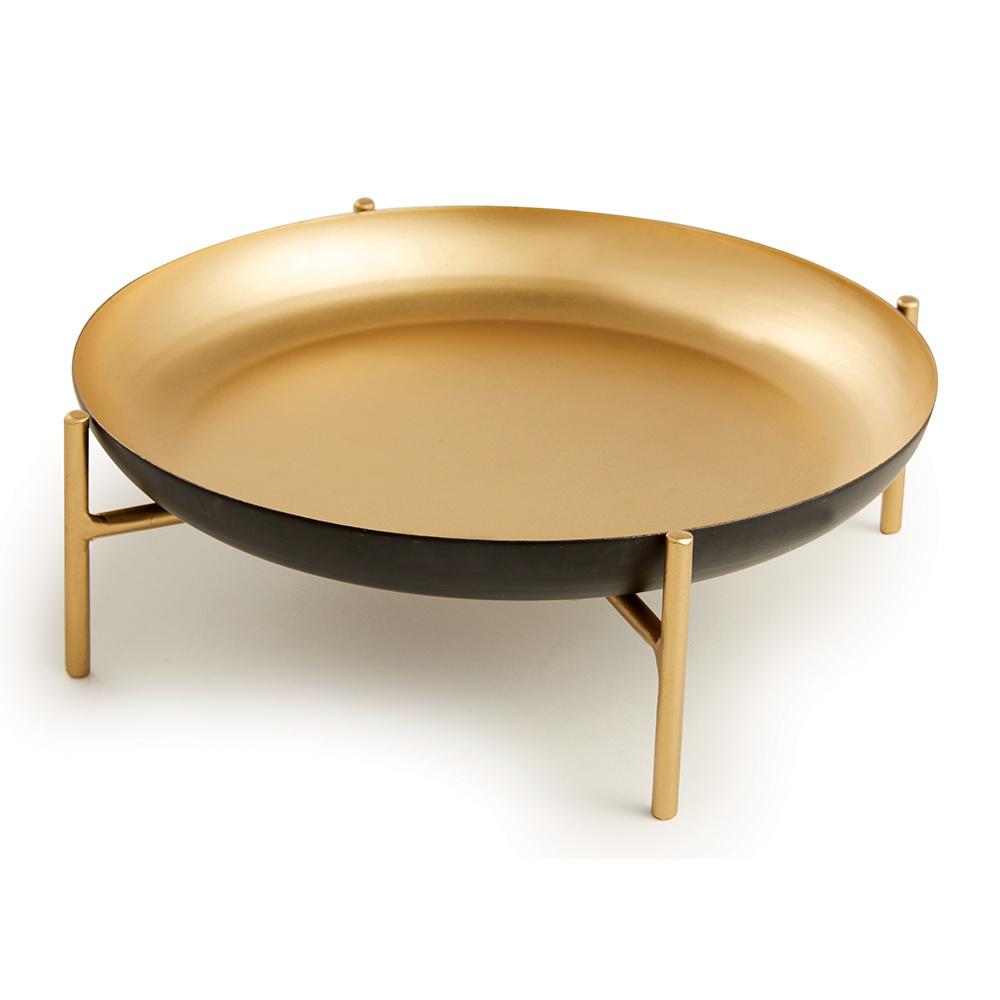 Centro de Mesa em Metal Preto e Dourado 6,5x20 cm - D'Rossi