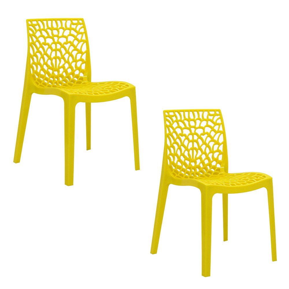 Conjunto 02 Cadeiras Gruvyer Sala de Jantar Amarela - D'Rossi