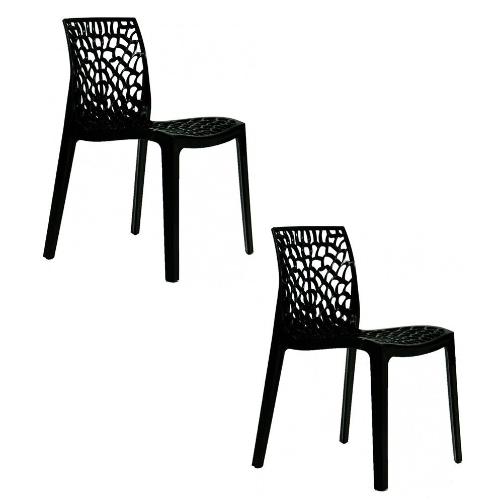 Conjunto 02 Cadeiras Gruvyer Sala de Jantar Preta - D'Rossi