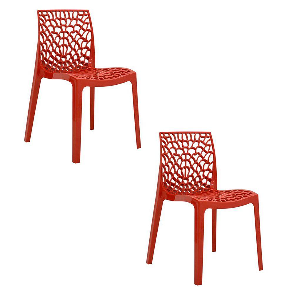 Conjunto 02 Cadeiras Gruvyer Sala de Jantar Vermelha - D'Rossi