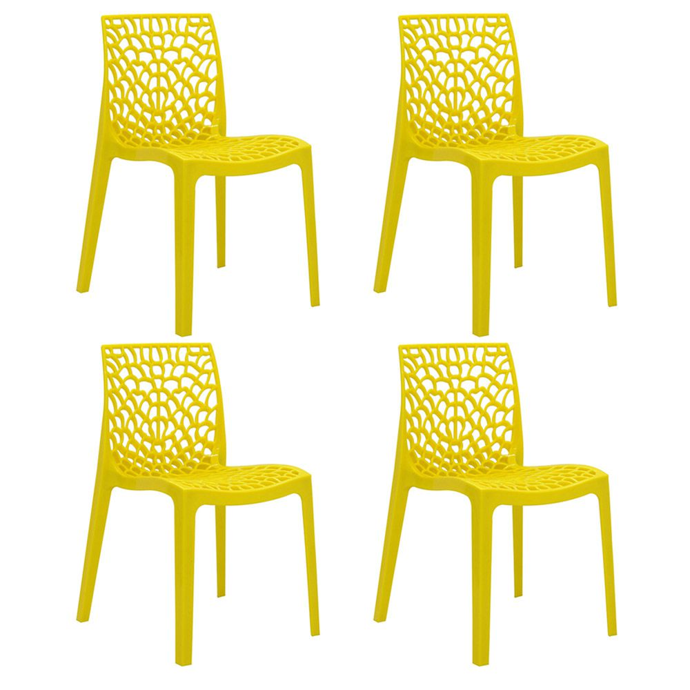 Conjunto 04 Cadeiras Gruvyer Sala de Jantar Amarela - D'Rossi