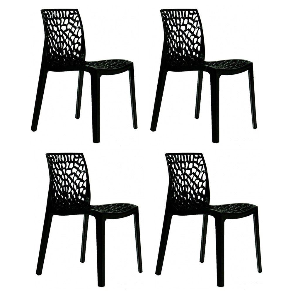 Conjunto 04 Cadeiras Gruvyer Sala de Jantar Preta - D'Rossi