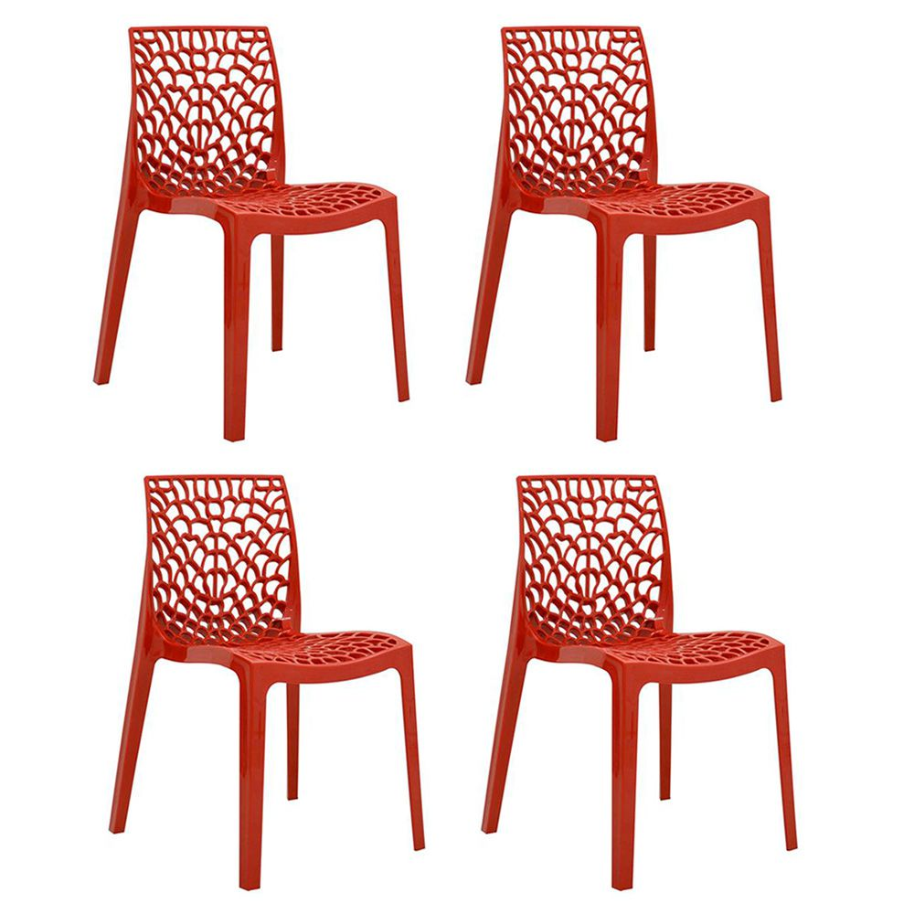 Conjunto 04 Cadeiras Gruvyer Sala de Jantar Vermelha - D'Rossi