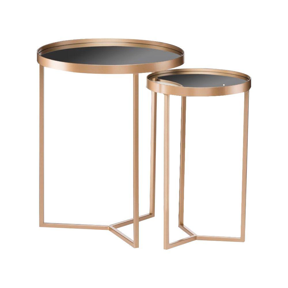 Conjunto Mesa de Apoio e Lateral Espelhada Dourado - D'Rossi