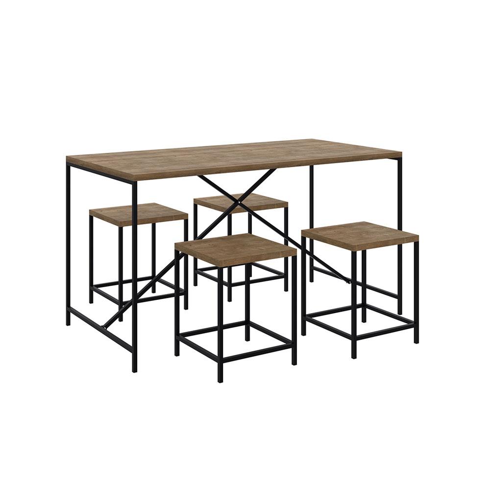 Conjunto Mesa de Jantar com 04 Banquetas Baixa Steel Quadra Estilo Industrial Vermont e Pés Metálico Preto - D'Rossi