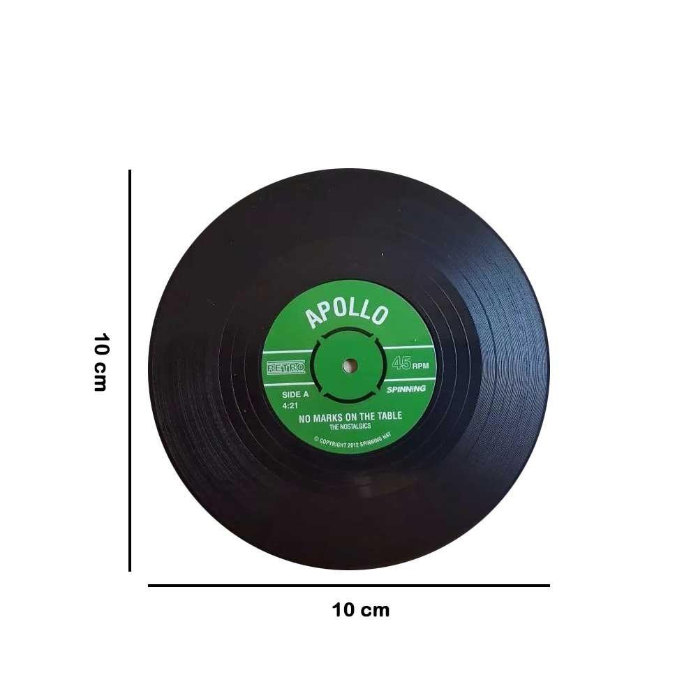 Conjunto Porta Copo Bolacha MDF Disco Vinil Vintage com 06 Peças - D'Rossi