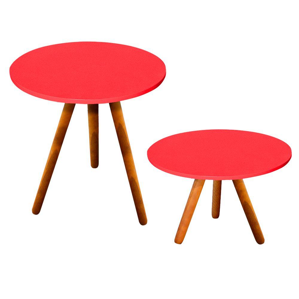 Kit Sala de Estar Mesa Lateral Mesa de Centro Vermelho - D'Rossi