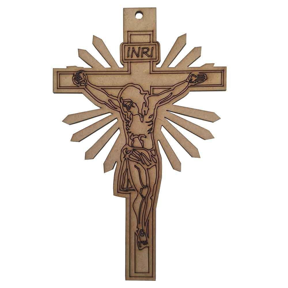 Cruz Decorativa Crucifixo Religioso MDF Cru 3mm 22x14 - D'Rossi