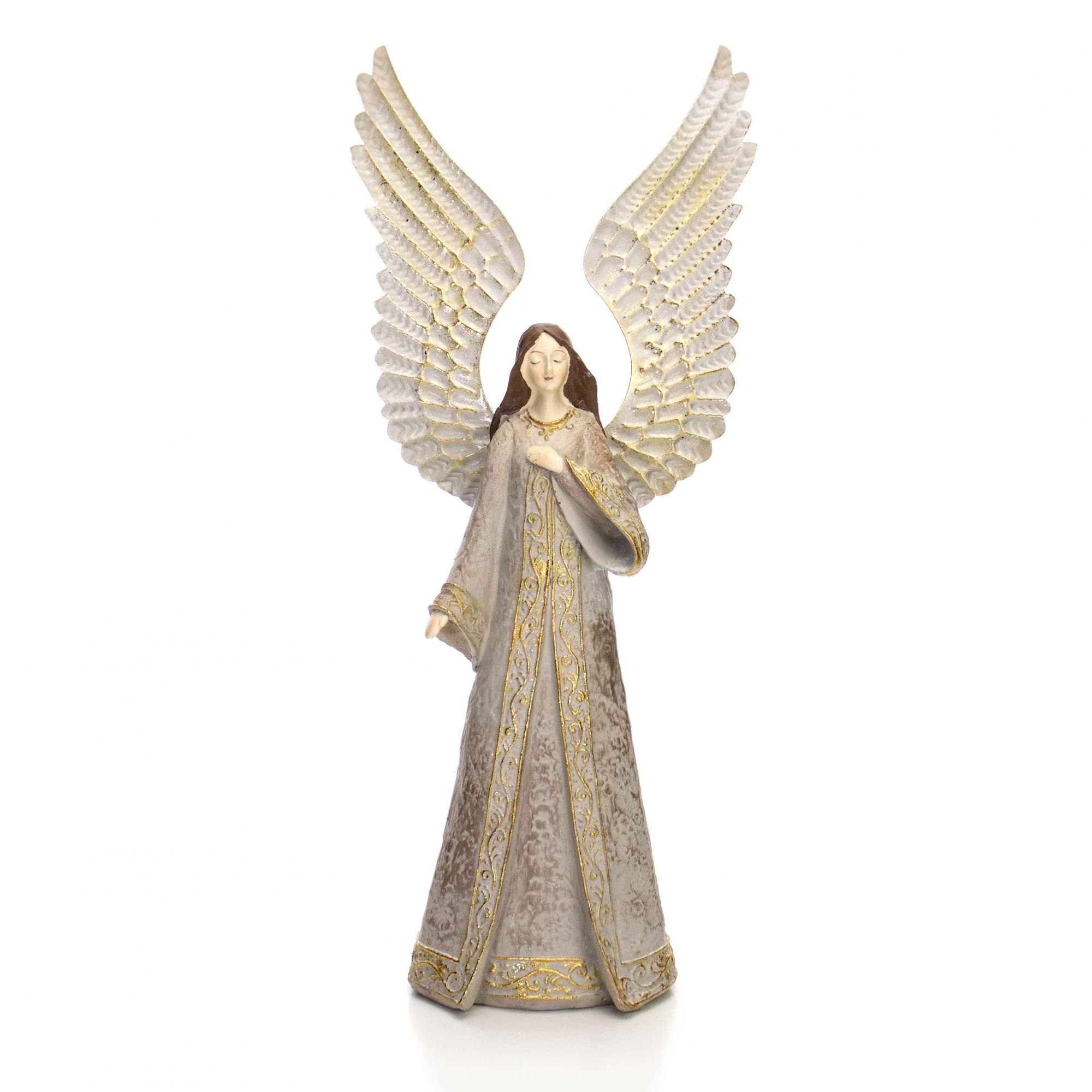 Enfeite Decorativo Anjo de Natal Bege e Dourado com Asa em Metal 39 cm - D'Rossi