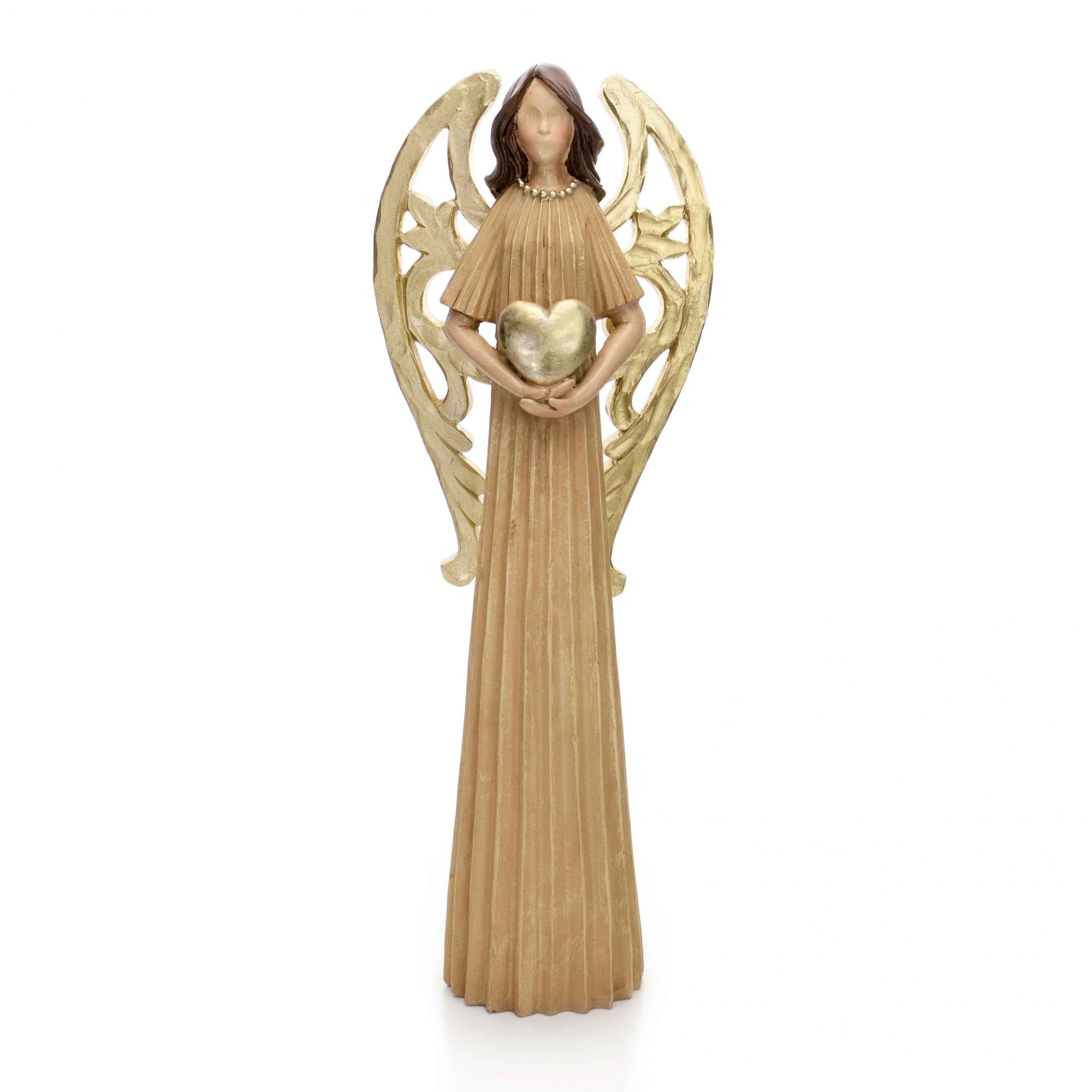 Enfeite Decorativo Anjo de Natal em Resina Bege e Dourado 36 cm - D'Rossi