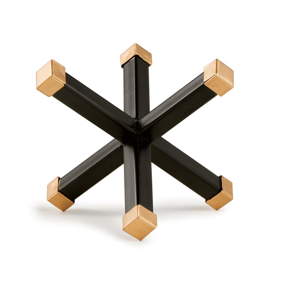 Enfeite Decorativo Forma Geométrica em Metal Preto e Dourado 11x13,5 CM - D'Rossi