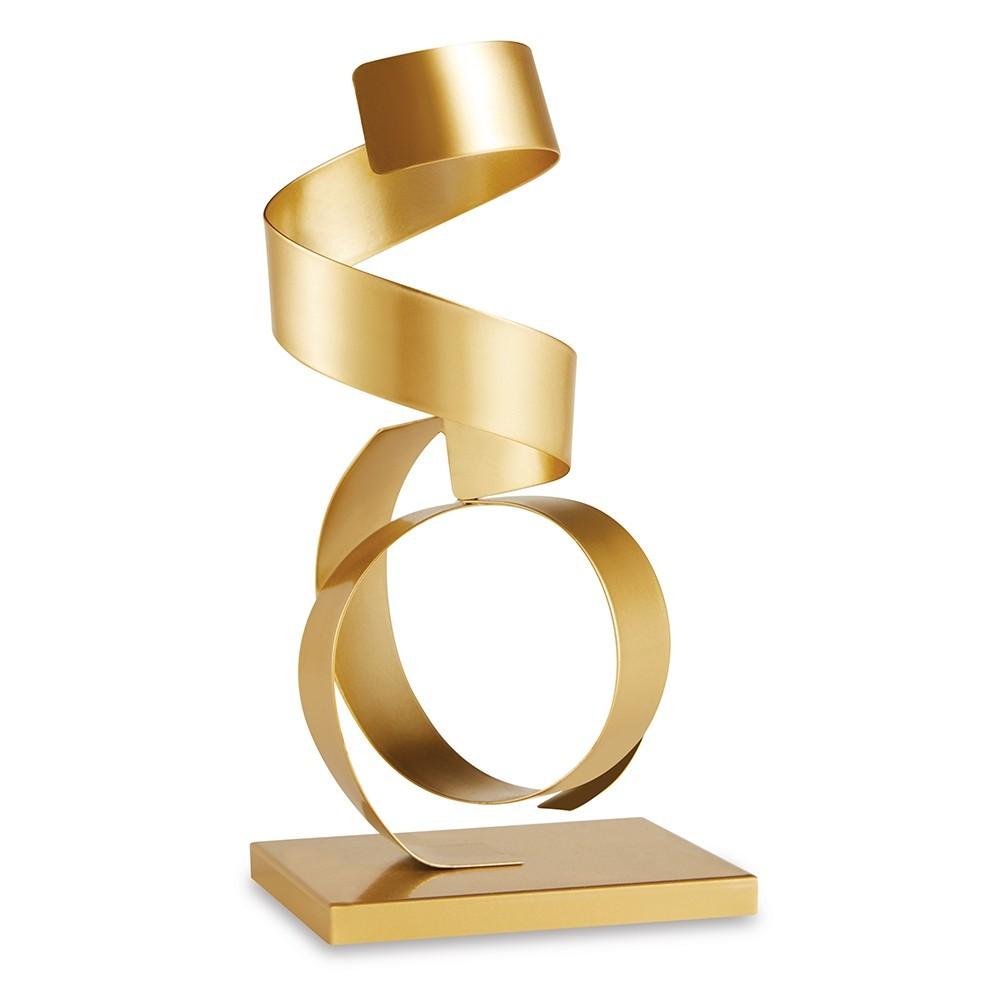 Escultura Decorativa Metálica Dourada 28x13 cm - D'Rossi