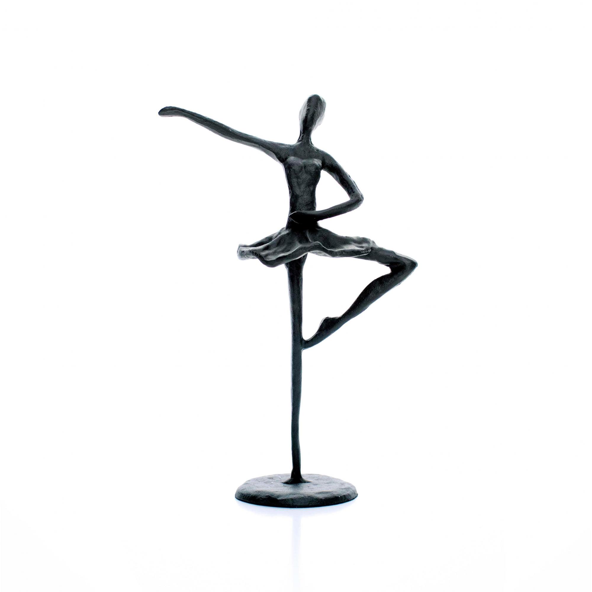 Escultura Decorativa em Metal Preto Bailarina 20x14 cm - D'Rossi