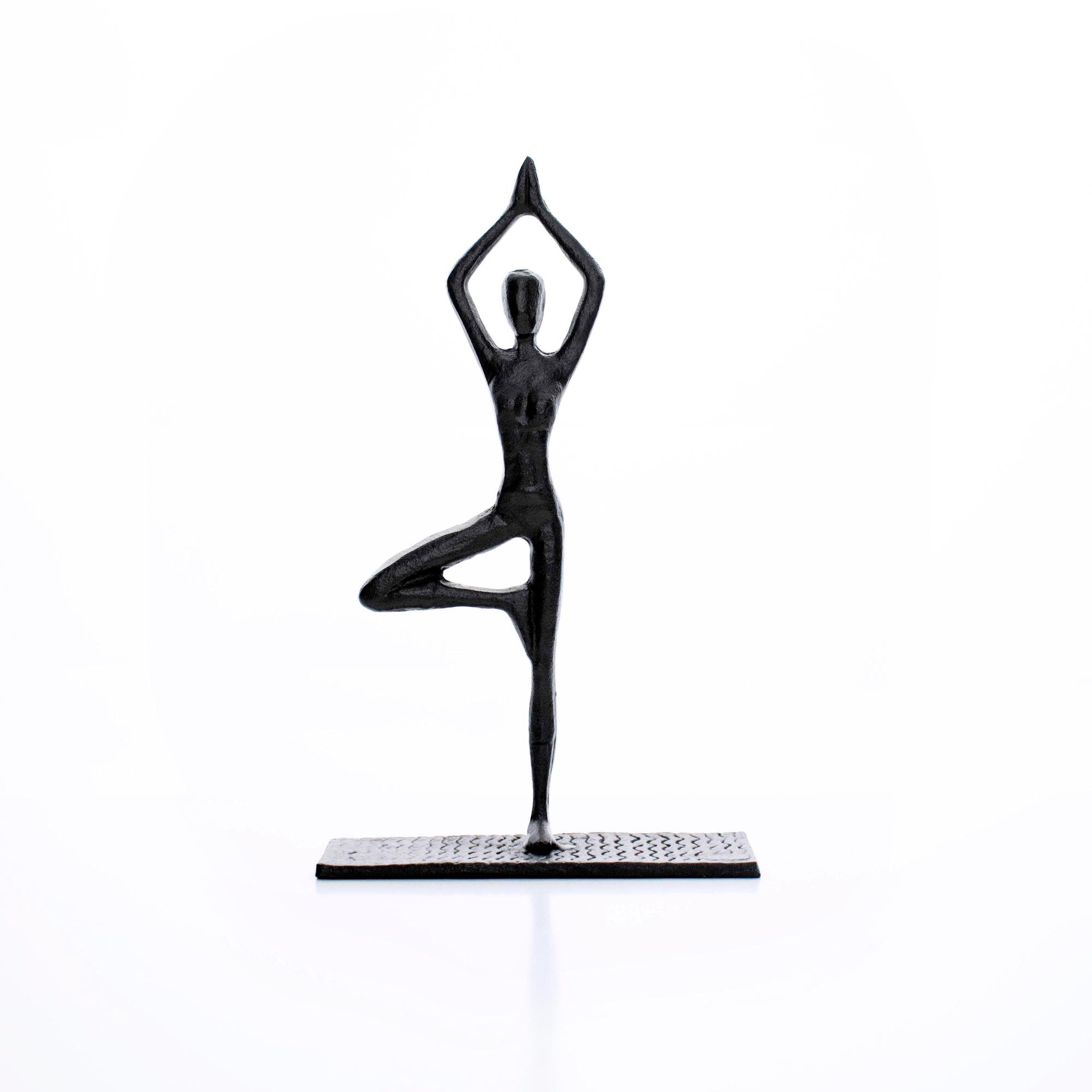 Escultura Decorativa em Metal Preto Yoga 20x12 cm - D'Rossi