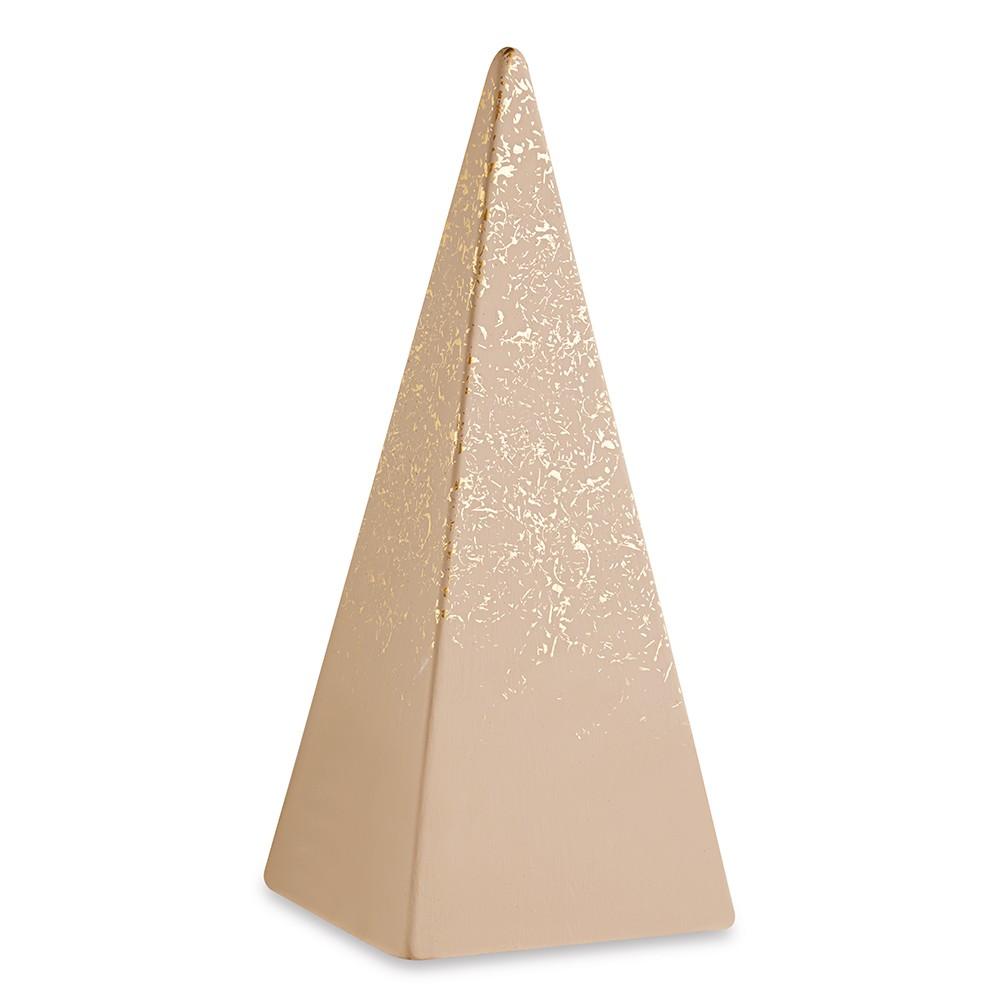Pirâmide Decorativa Nude e Dourada Em Cimento 26 x 10,5 x 10,5cm D'Rossi