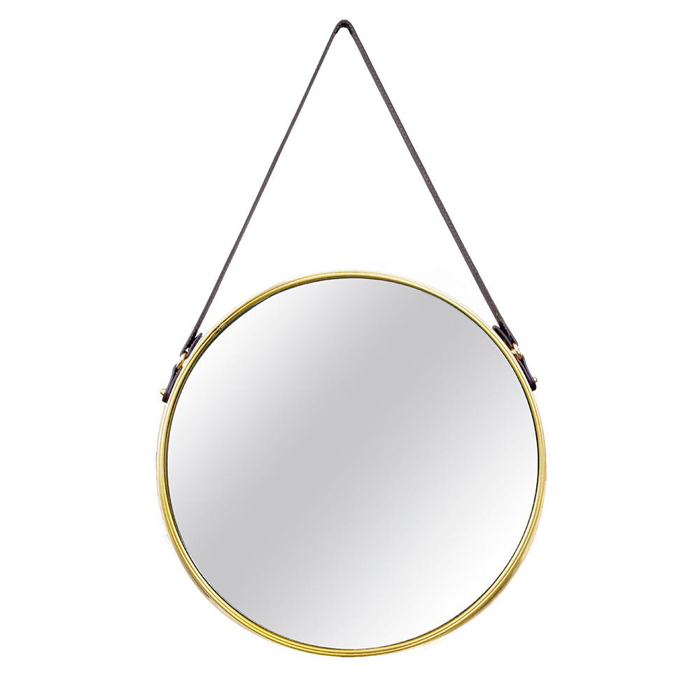 Espelho Adnet Dourado com Alça de Couro Marrom 57,5x36 cm - D'Rossi