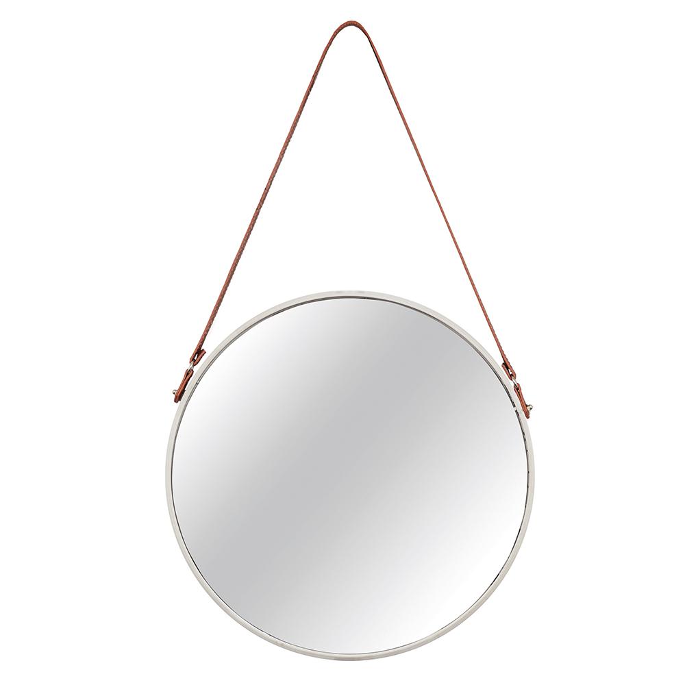 Espelho Adnet Off White com Alça de Couro Marrom 66,5x40,5 cm - D'Rossi