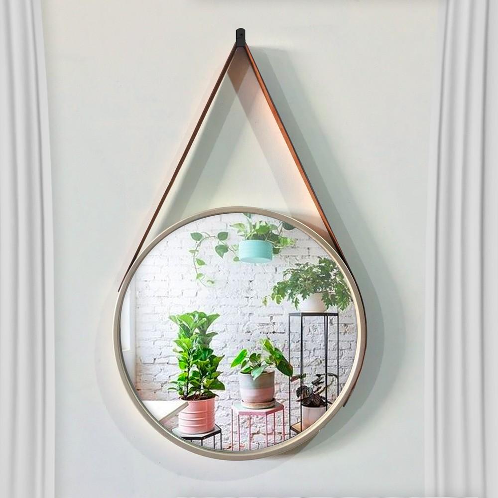Espelho Decorativo Adnet Redondo Dourado 33 cm D'Rossi
