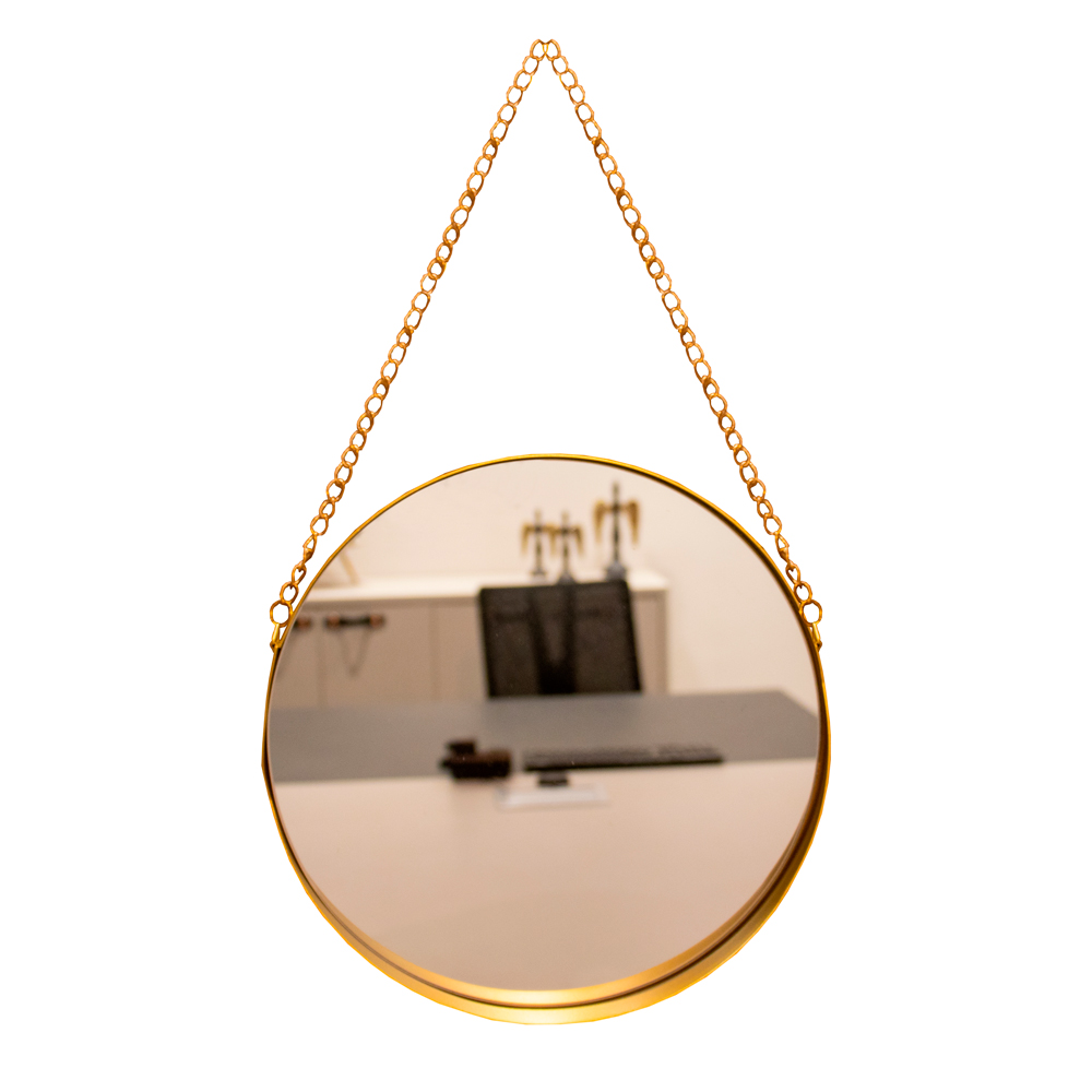 Espelho Decorativo Adnet Redondo Dourado com Alça de Corrente Dourado 26x5 cm - D'Rossi