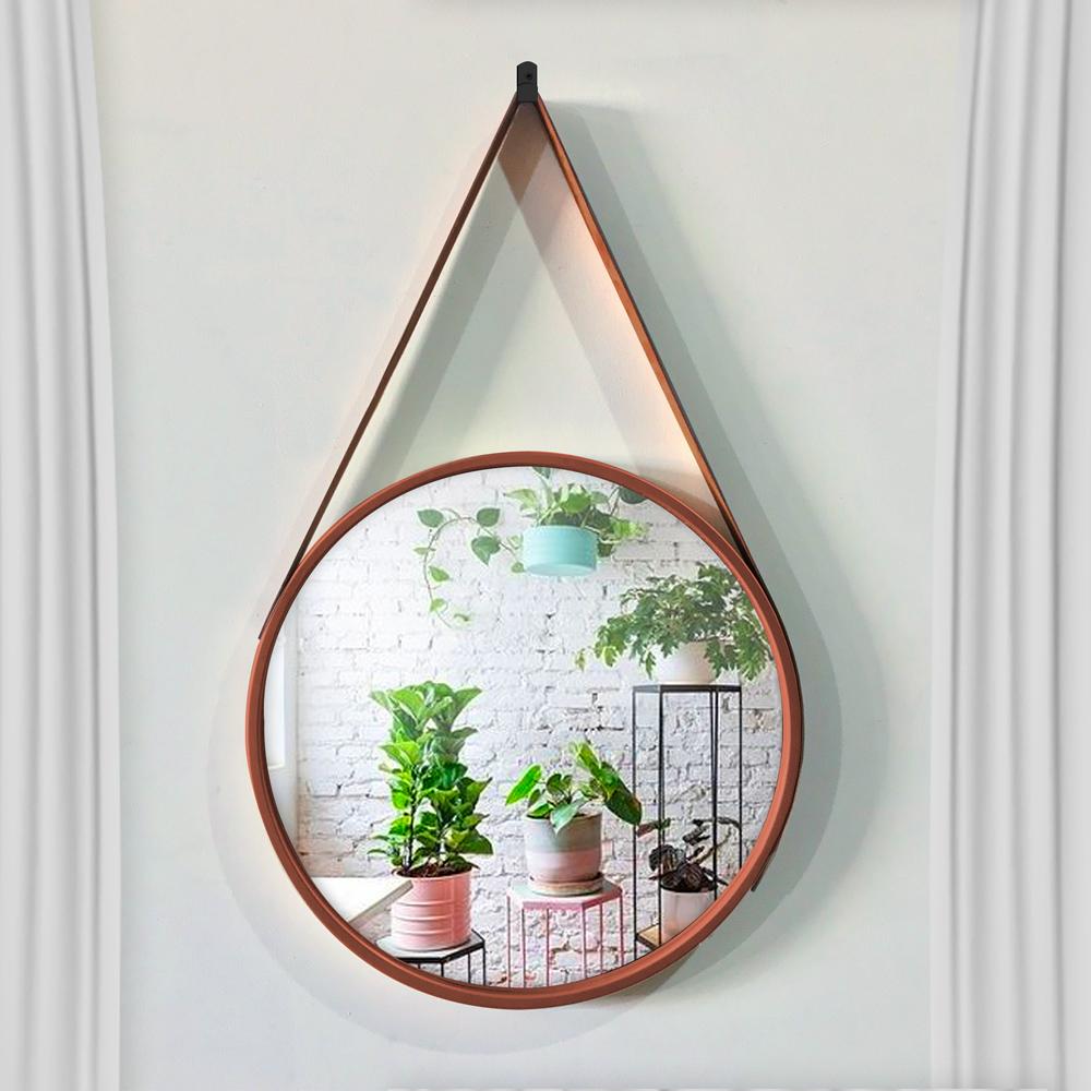 Espelho Decorativo Adnet Redondo Marrom 60 cm - D'Rossi