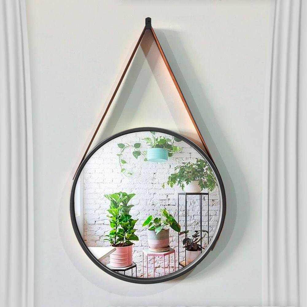 Espelho Decorativo Adnet Redondo Preto 60 cm com Alça Marrom - D'Rossi